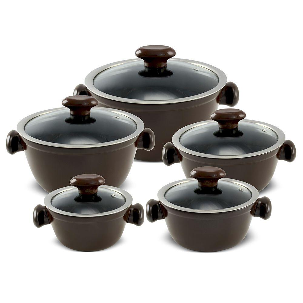 Conjunto De Caçarolas De Cerâmica Ceraflame 5 Peças Chef Casual Chocolate