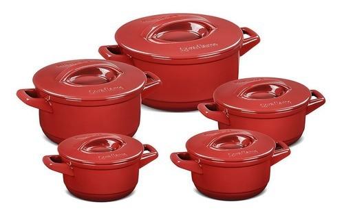 Conjunto De Caçarolas De Cerâmica Ceraflame 5 Peças Duo+ Casual Pomodoro