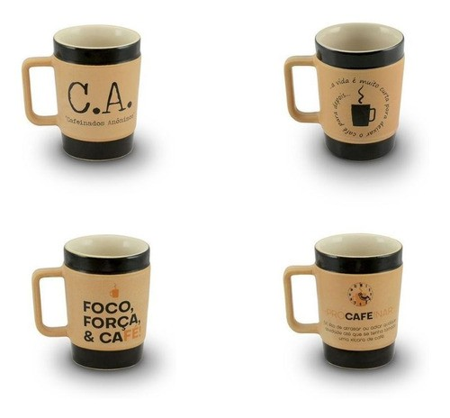 Conjunto De Canecas De Cerâmica 150Ml Ceraflame Coffee To Go