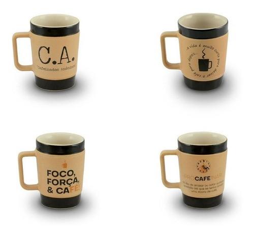 Conjunto De Canecas De Cerâmica 300Ml Ceraflame Coffee To Go