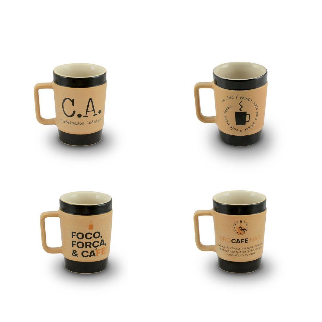Conjunto De Canecas De Cerâmica 300Ml Mondoceram Coffee To Go