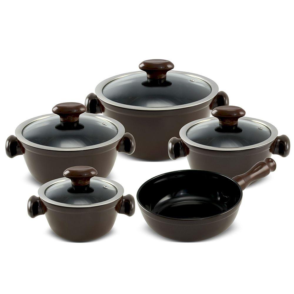Conjunto De Panelas De Cerâmica Ceraflame  5 Peças Chef - Chocolate