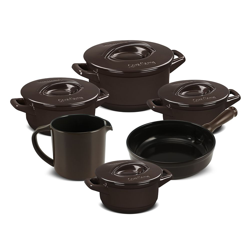 Conjunto De Cerâmica Ceraflame  6 Peças Duo+ Smart Chocolate