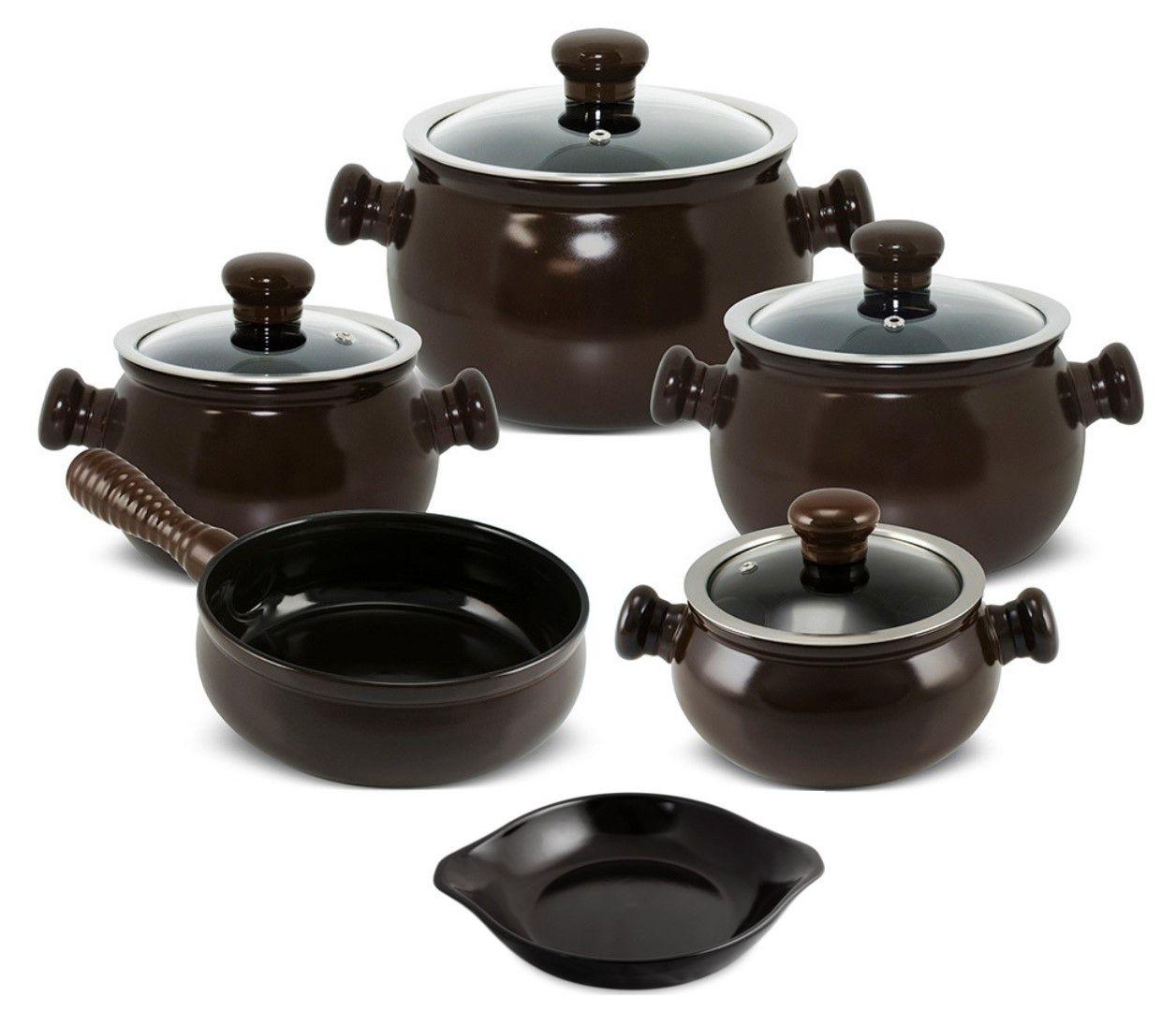 Conjunto De Panelas De Cerâmica Ceraflame Premiere Joy 5 Peças Chocolate Com Assadeira 20Cm Preta