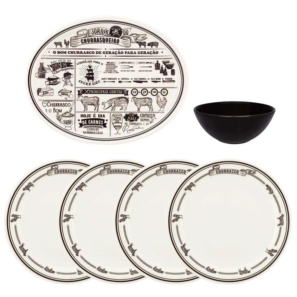 Conjunto De Churrasco 6 Peças  Jornal Do Churrasqueiro Oxford Porcelanas