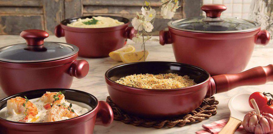 Conjunto De Panelas De Cerâmica Ceraflame  5 Peças Chef - Rose Gold