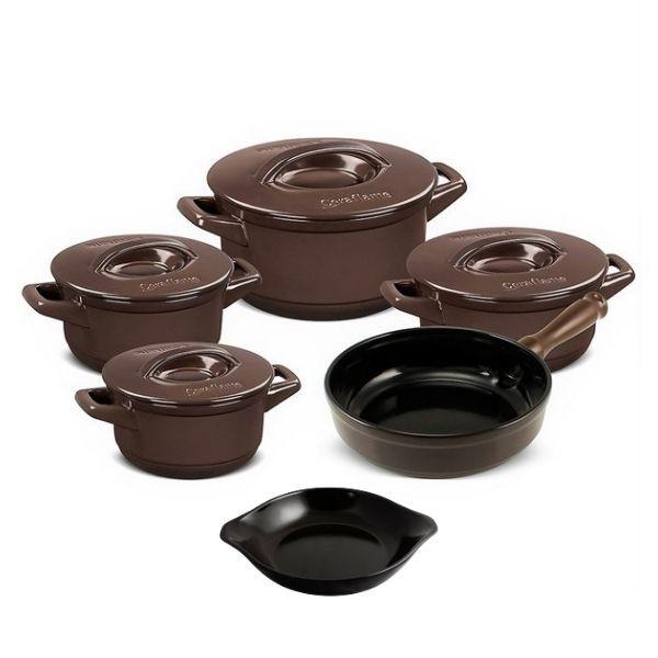 Conjunto De Panelas De Cerâmica Ceraflame  5 Peças Duo+ Smart Chocolate Com Assadeira 20Cm Preta
