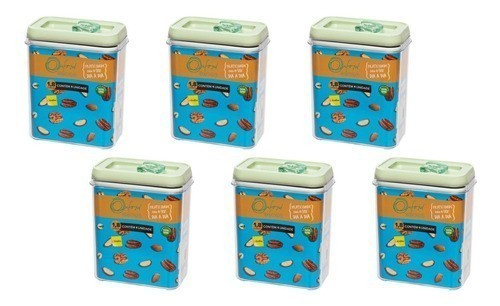 Conjunto De Potes De Acrílico Para Mantimentos 1800Ml - 6 Peças - Menta - Oxford Daily