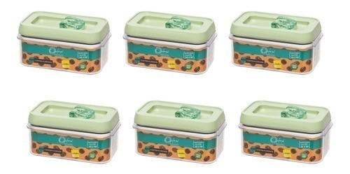 Conjunto De Potes De Acrílico Para Mantimentos 600Ml - 6 Peças - Menta - Oxford Porcelanas