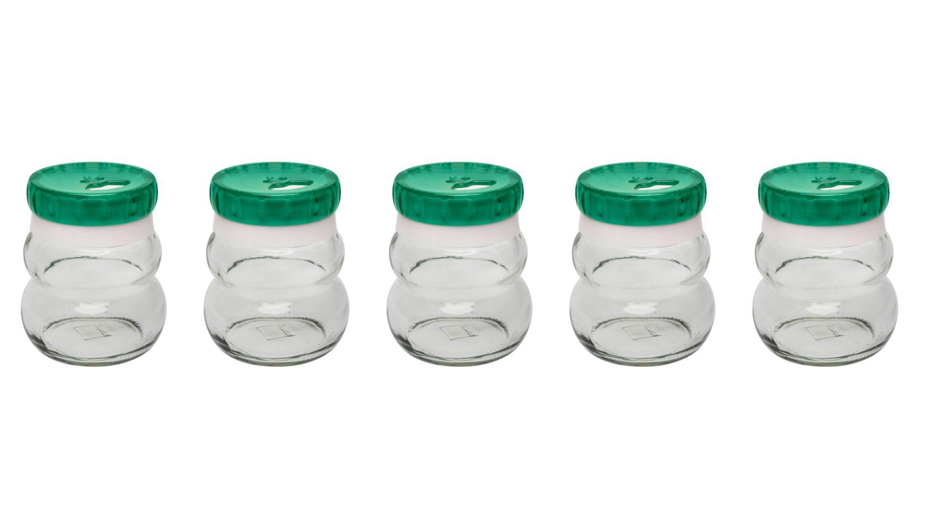 Conjunto De Potes De Vidro Redondo Para Temperos 150Ml - 5 Peças Verde - Oxford Daily