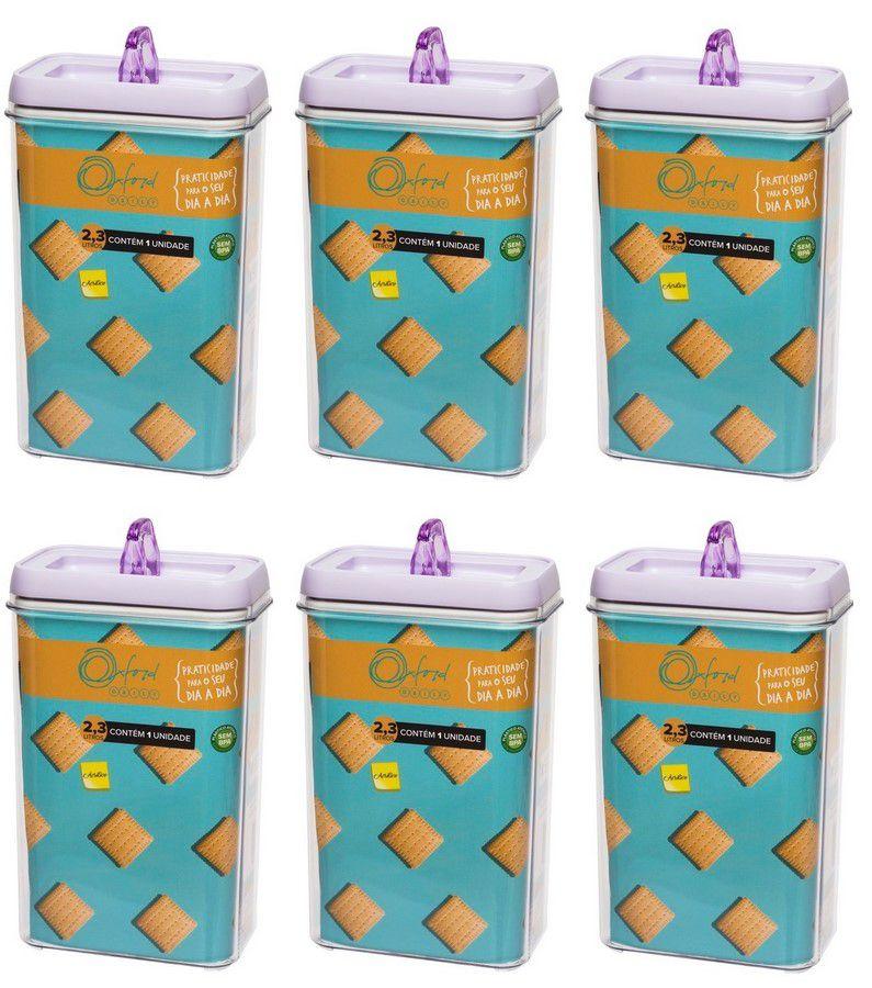 Conjunto De Potes Herméticos De Acrílico Retangular 2300Ml - 6 Peças  - Lavanda - Oxford Daily