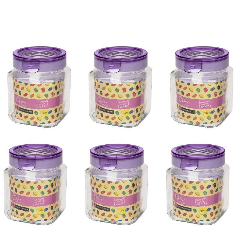 Conjunto De Potes Herméticos De Vidro Quadrado 1000Ml - 6 Peças - Lavanda - Oxford Daily