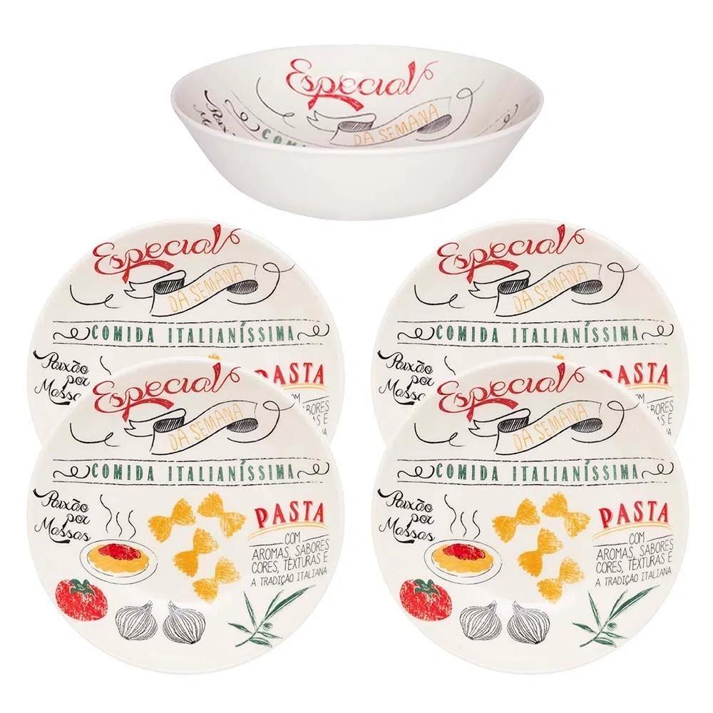 Conjunto De Pratos E Travessa Para Massa 5 Peças Oxford Porcelanas