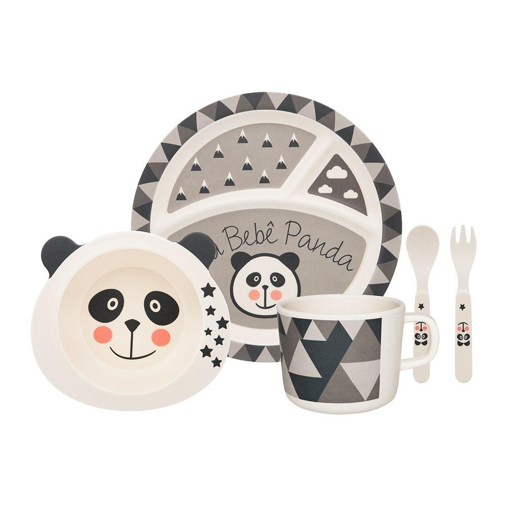 Conjunto De Refeição Infantil 05 Peças - Bebê Panda - Oxford