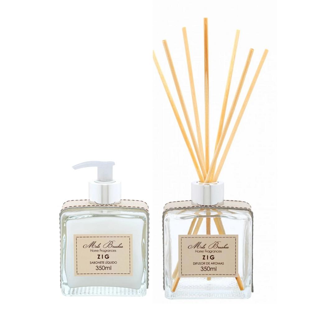 Conjunto De Sabonete E Difusor De Aromas 350 Ml Luxo - Zig - Mels Brushes