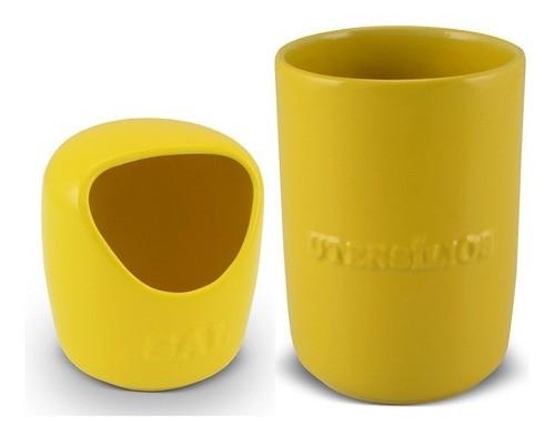 Conjunto De Saleiro E Porta Utensílios Ceraflame - Amarelo