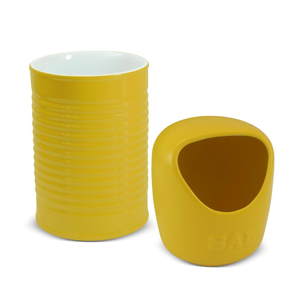 Conjunto De Saleiro E Porta Utensílios Lata Ceraflame - Amarelo