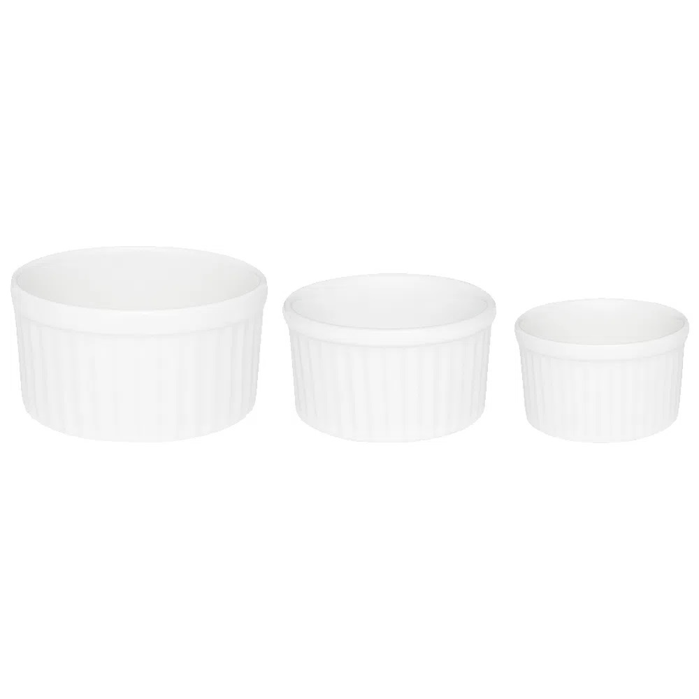 Conjunto De Tigelas Ramequins 3 Peças Branco - Oxford Porcelanas