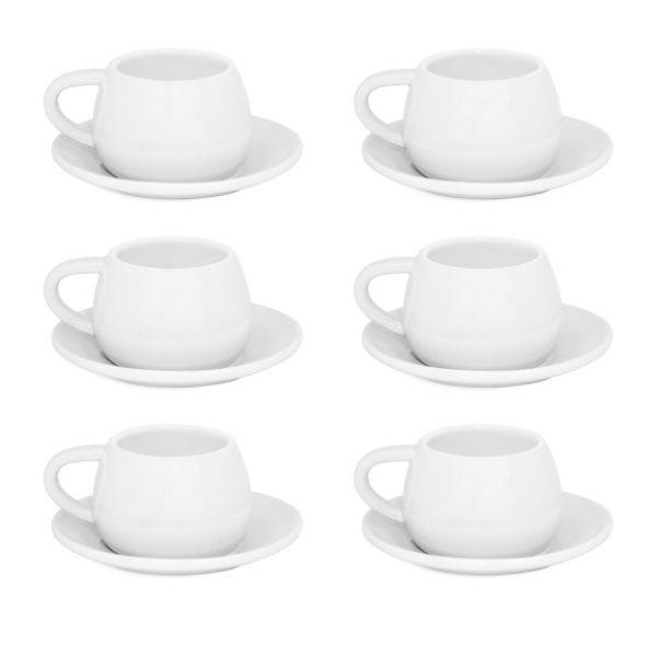 Conjunto De 06 Xícaras E Pires Tropeiro de Cerâmica Mondoceram Branco
