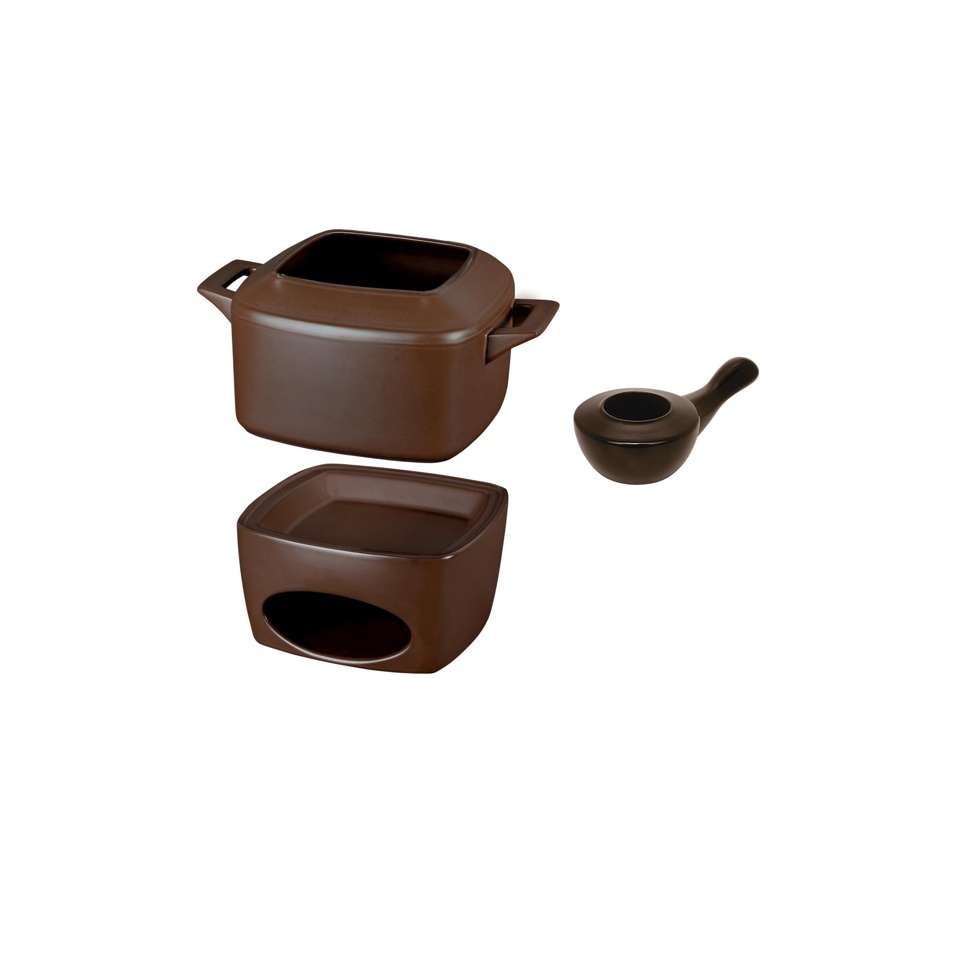 Conjunto Fondue 3 Peças Chocolate