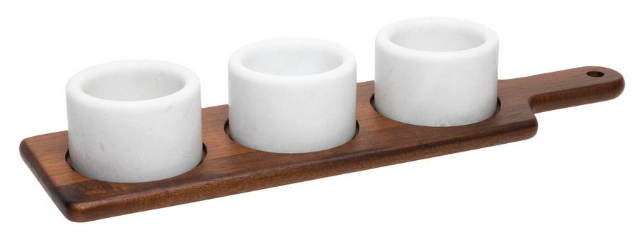 Petisqueira Em Mármore E Madeira 46 x 12,7 cm - Mármore Branco - Oxford