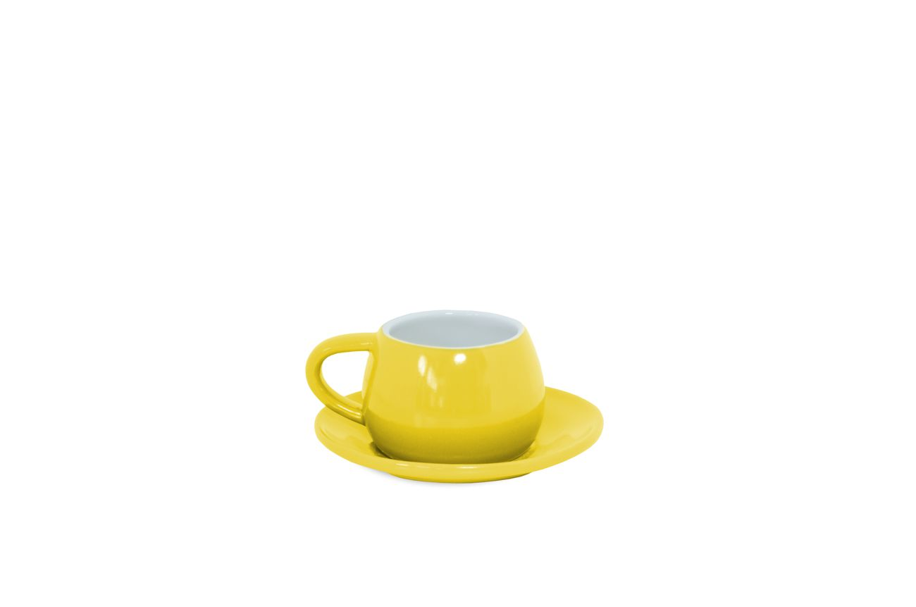 Xícara E Pires Tropeiro De Cerâmica Mondoceram Amarelo