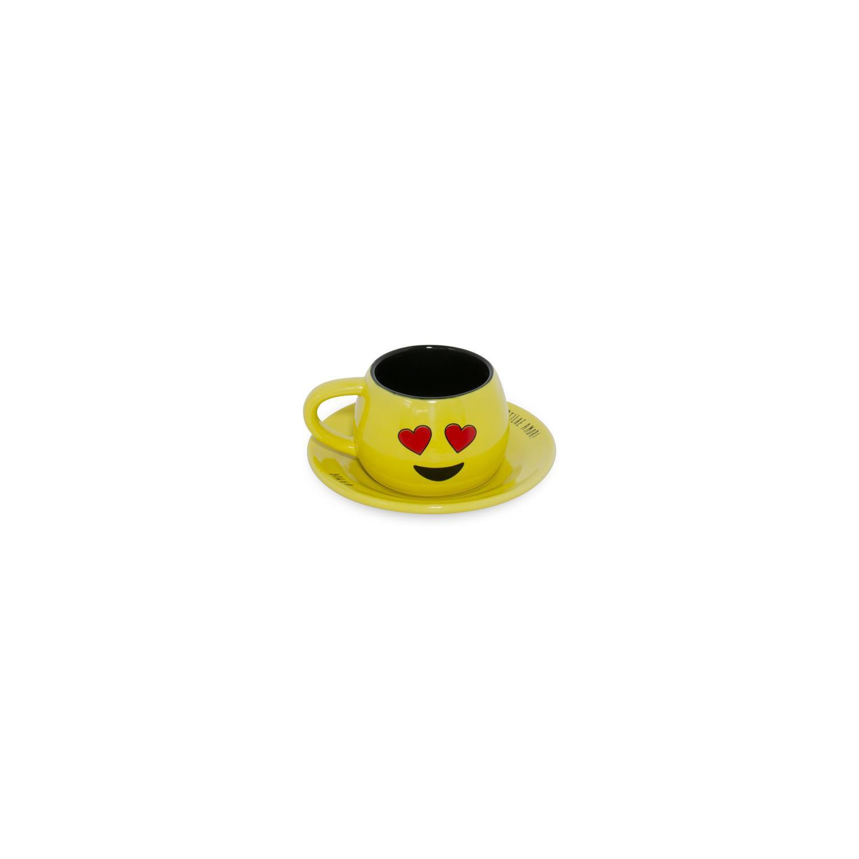 Conjunto Xicara/Pires De Cerâmica Tropeiro Amarelo