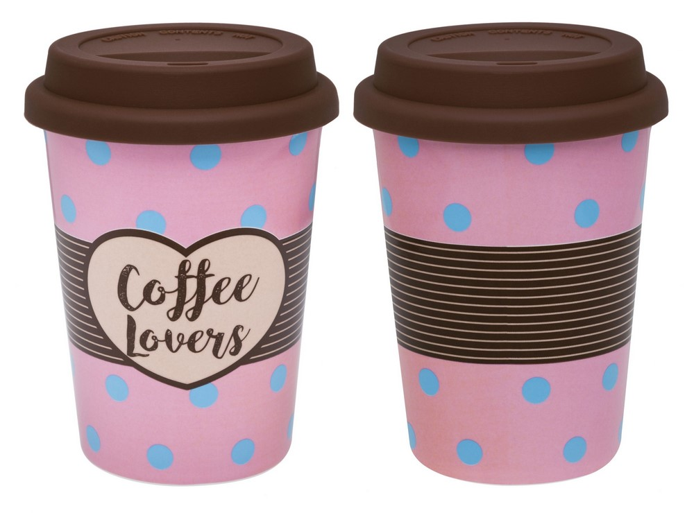 Copo De Cerâmica C/ Tampa De Silicone  - Trip Coffe Lovers - Oxford Daily
