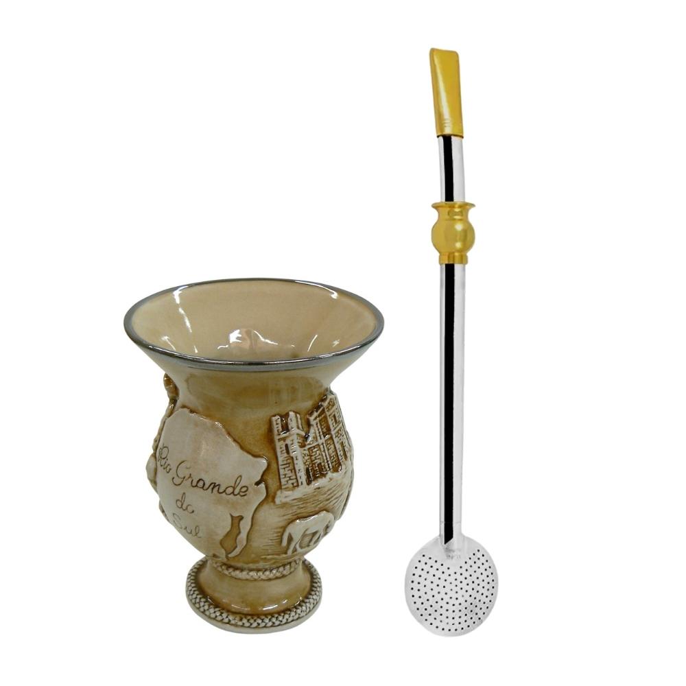 Cuia De Cerâmica Rio Grande Do Sul 500Ml Ceraflame Com Bomba Anel Cuia Taumer