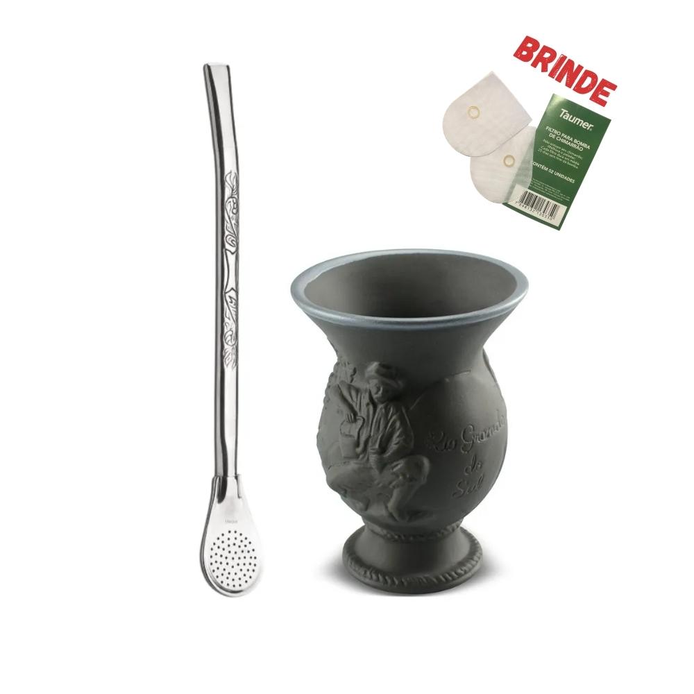 Cuia De Cerâmica Rio Grande Do Sul Alto Relevo 200Ml Ceraflame Com Bomba Inox Taumer