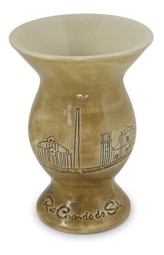 Cuia De Cerâmica Rio Grande Do Sul Baixo Relevo 350Ml Ceraflame