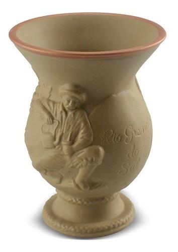 Cuia De Cerâmica Rio Grande Do Sul Ocre Alto Relevo 350Ml Ceraflame Origens