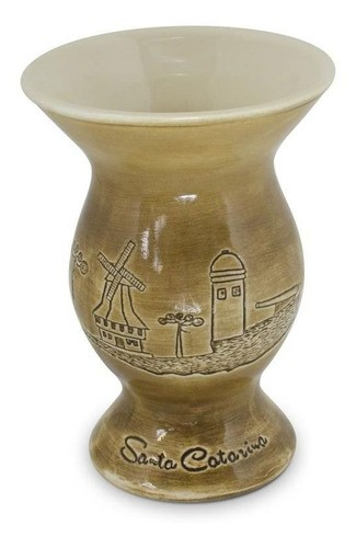 Cuia De Cerâmica Santa Catarina Baixo Relevo 350Ml Ceraflame