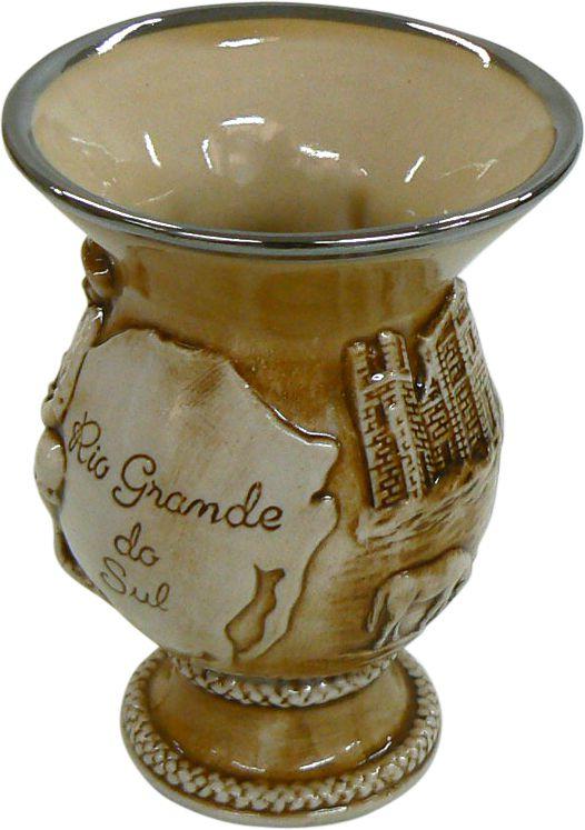 Cuia De Cerâmica Rio Grande Alto Relevo Pequena 280Ml Mondoceram