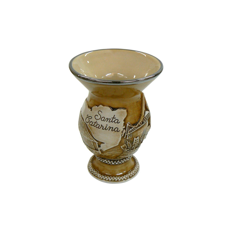 Cuia De Cerâmica Santa Catarina Alto Relevo 350Ml Mondoceram