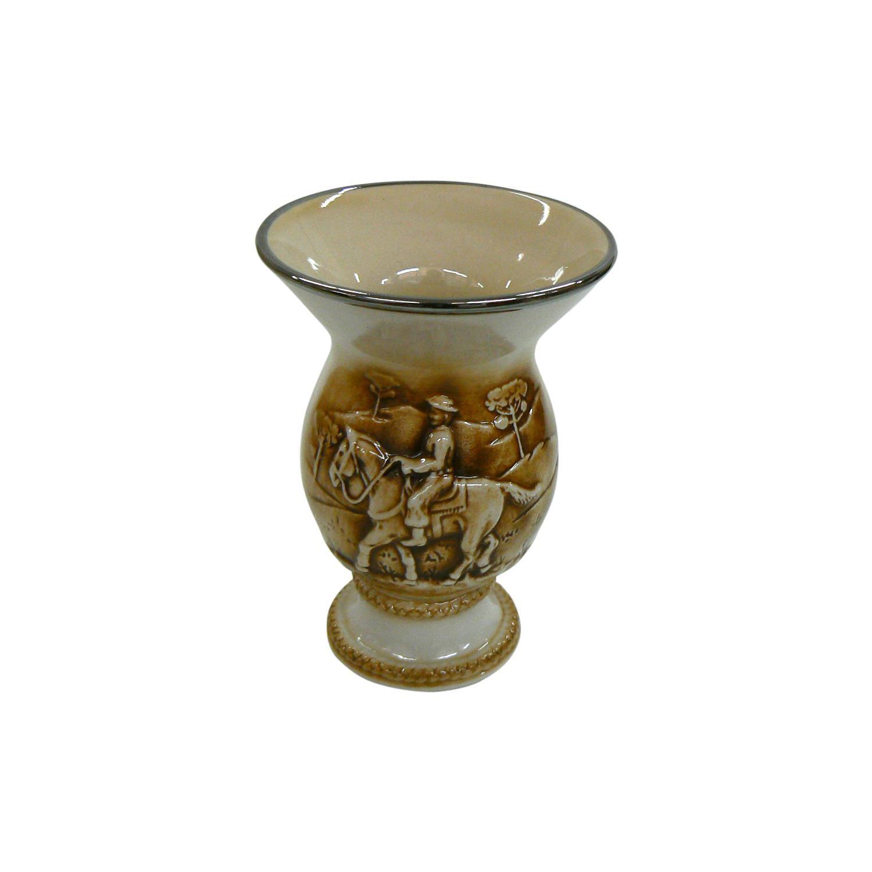 Cuia De Cerâmica Tropeiro Branca Alto Relevo 350Ml Modoceram