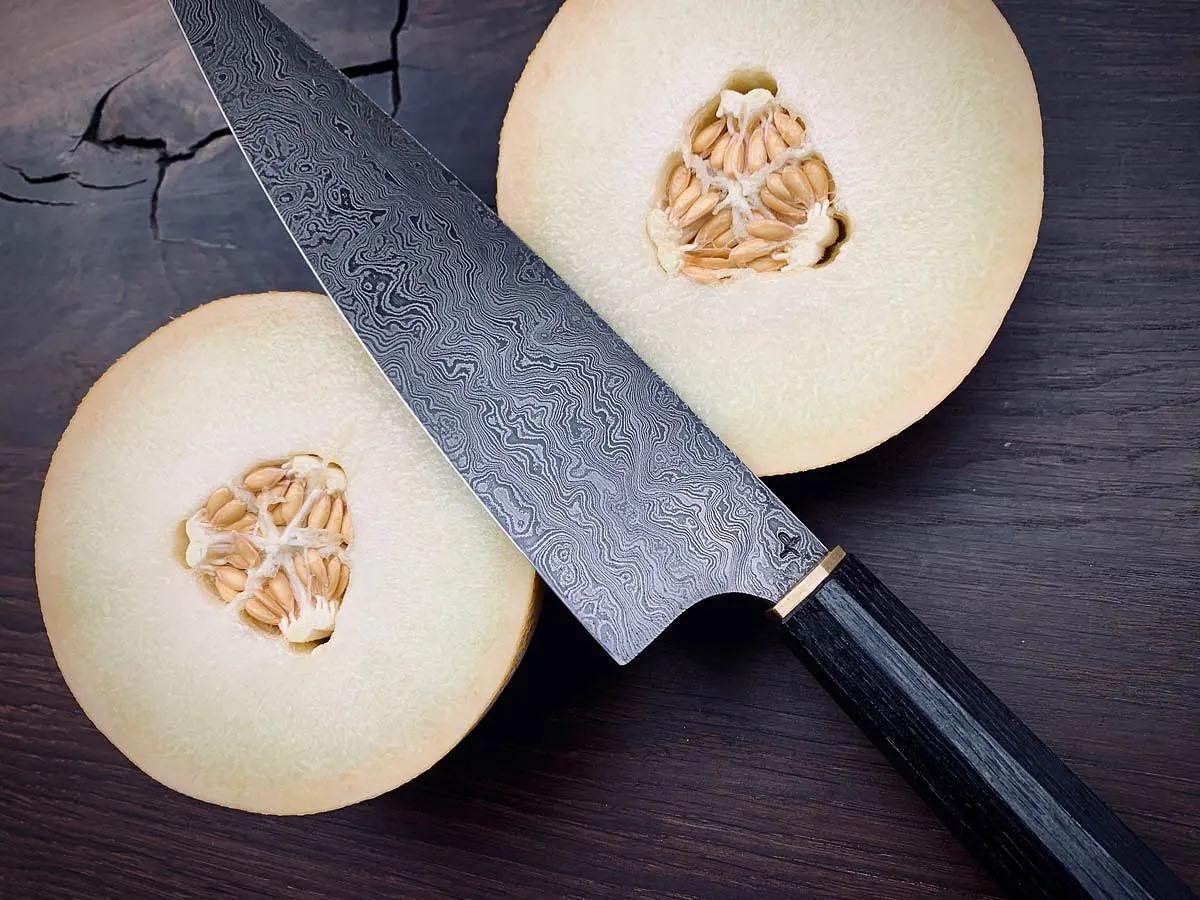 Faca Artesanal De Chef Y2 Hohenmoorer Em Aço Damasco 24Cm