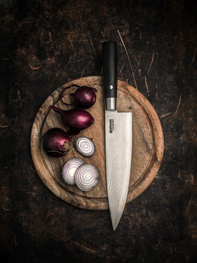 Faca De Chef Böker Damast Black 21Cm Com Cabo Em Madeira Preto E Lâmina De Aço Damasco De 37 Camadas