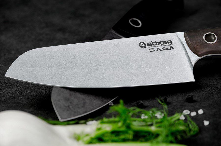 Faca De Cozinha Santoku Böker Saga 16Cm Com Cabo Em Madeira De Grenadilla