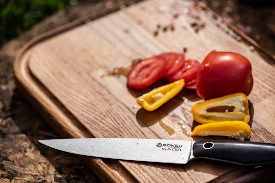 Faca De Cozinha Utilitária Böker Saga 15Cm Com Cabo Em Madeira De Grenadilla