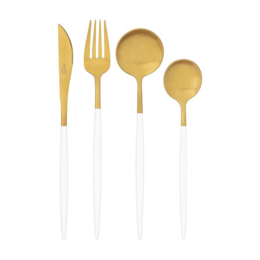Faqueiro Aço Inox 16 Peças Garbo Catarina Branco e Dourado Oxford