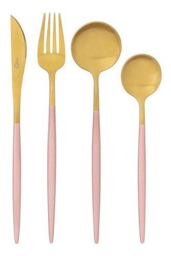 Faqueiro Aço Inox 16 Peças Garbo Catarina Rose e Dourado Oxford