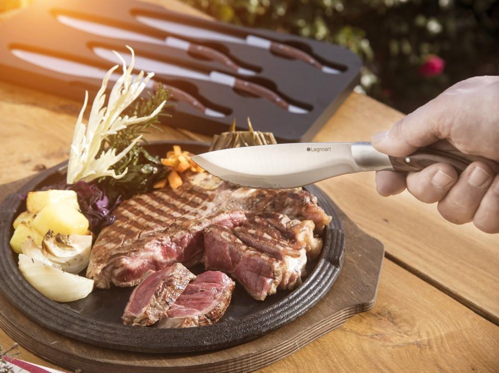 Jogo De 4 Facas Para Carne / Churrasco Legnoart Angus Com Cabo Em Madeira Clara