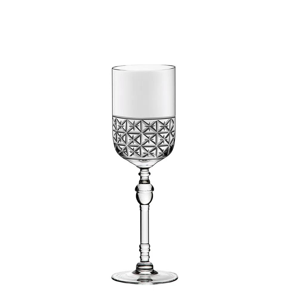 Jogo De 6 Taças De Cristal P/ Vinho Branco 316ml Cidade Da Garoa Oxford Crystal Handmade