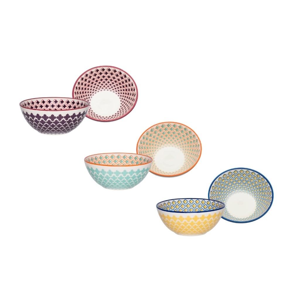 Kit Com 03 Bowls De Cerâmica 16Cm 600Ml Mosaico Oxford Daily