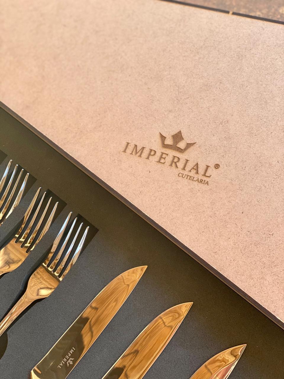 Jogo de Talheres Steak 12 Peças Com Cabo de Madeira - Imperial Cutelaria