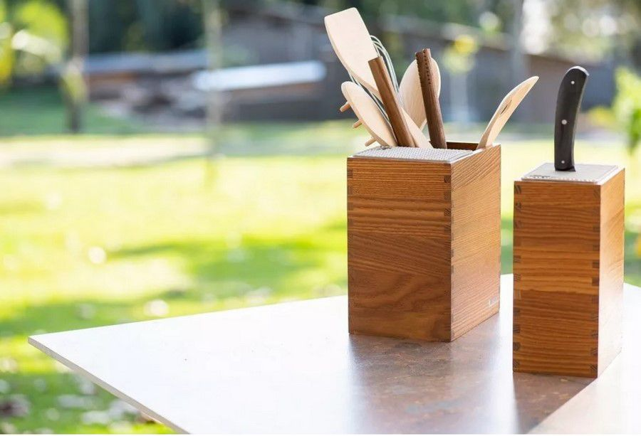 Porta Facas E Utensílios Com 6 Utensílios Legnoart Mistery Box Em Madeira Escura