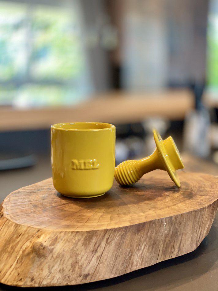 Pote de Mel De Cerâmica 350GR Mondoceram Gourmet Amarelo