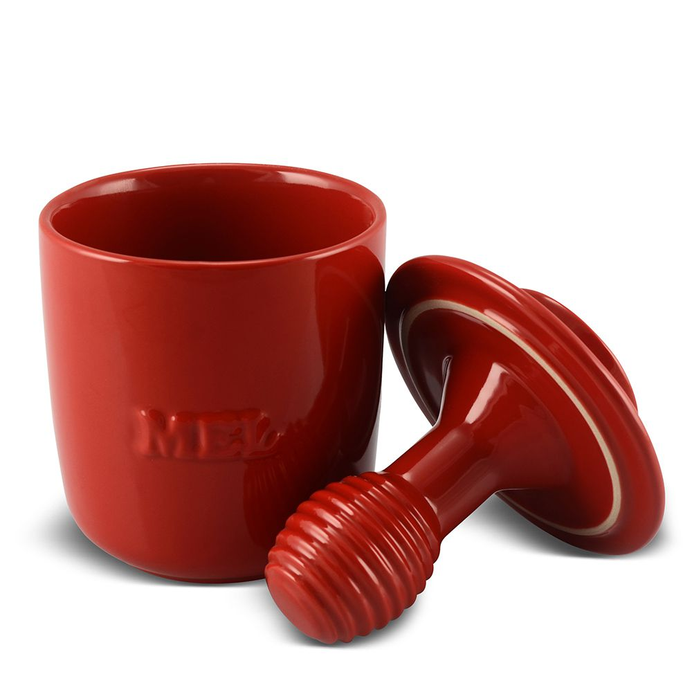 Pote de Mel De Cerâmica 350GR Mondoceram Gourmet  Vermelho