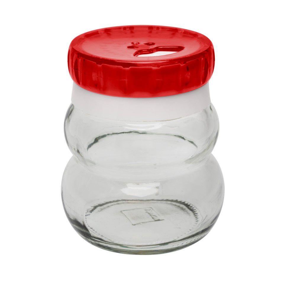 Pote De Vidro Redondo Para Temperos 150Ml - Vermelho - Oxford Daily